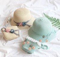 Bambina cappello di paglia cappello di estate spiaggia traspirante largo cappelli da corn arco crema solare crepa cappuccio fiore di paglia e b jllklk home003