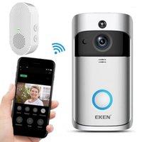 EKEN V5 Video Kapı Zili Akıllı Kablosuz Wifi Güvenlik Kapı Çan Ile Chime Ev Monitör Gece Görüş Toptan 20 adet / lot1