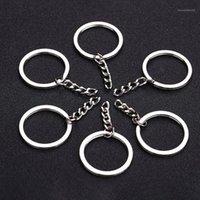 Color plateado pulido de 30 mm Llavero llavero de llavero con anillos de llave de cadena corta Mujeres hombres DIY llavero llavero accesorios 10pcs1