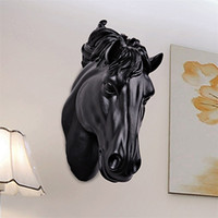 Horses Head Wall Hangin 3D Animal Decorations Art Sculpture Figurines Resin Craft Home Living Room Wall Decorations R675 201225