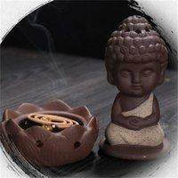 Keramische zenser pansy monk sitzen in meditation niedliche duftlampen wenig buddhistische monk lotus ornamente kunst und handwerkkräuter neues 9ys k2