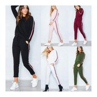 Women's Tracksuits Womens Autumn And Winter Casual Striped Printing Long Sleeves Jumpers Ankle Length Pencil Pants Two Piece Sports Sets