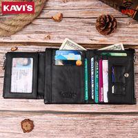 Kavis Натуральная кожа мужская кошелек бренд для мужчин черный Портомонистый день сумка короткая монета перс RFID блокировка кошельки мальчиков
