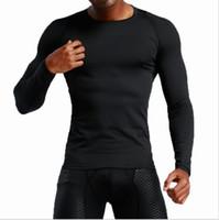 T-shirt da uomo Europa US Esecuzione di abbigliamento da fitness Abbigliamento ad asciugatura rapida Abbigliamento a maniche lunghe a maniche lunghe Allenamento a compressione Stretch Slim Tights Black GHFGH