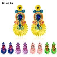 Серьги моды свисают люстра KPACTA Soutach Handmade Мода Серьги этнических Ювелирных Изделий Женщины Кристаллические Украшения Серьги Партия Подарки Букл д'Ореи