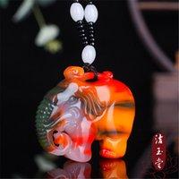 Tallado colorido jade elefante colgante natural collar chino joyería joyería moda afortunado mujer amuleto regalos suéter cadena
