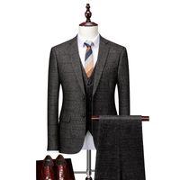 Costume de mariage gris à carreaux gris 2020 costume slim