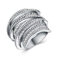 Tam Prenses Kesim Takı 925 Ayar Siver 925 Ayar Gümüş Beyaz Safir Simüle Gemstones Düğün Kadın Yüzük SZ5-11 58 N2