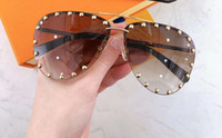Parti Pilot Güneş Gözlüğü Çiviler Altın Kahverengi Gölgeli Güneş Gözlükleri Kadın Moda Çerçevesiz Güneş Gözlüğü Göz Giyim Kutusu Ile