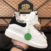 En Kaliteli Erkekler Bayan Hakiki Deri Tasarımcıları Platformu Ayakkabı Bayan Yumuşak Moda Açık Kadife Falt Mens Lüks Tasarımcı Rahat Eğitmenler Sneakers ile Kutusu