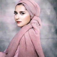 الأوشحة أزياء عادي فقاعة الشيفون وشاح المرأة الحجاب التفاف الصلبة colorshawls العصابة مسلم hijabsturbanet headscarf