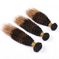Ombre Bundles Kinky Rizado Dark Roots Extensiones de cabello humano # 1b 4 27 Miel Rubio Rubio Ombre Peruano Rizado Rizado Peluquero Humano Paquetes 3pcs