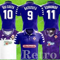1992 1993 Retro Fiorentina Florence 98 99 Rui Kosta Batistuta Retro Uzun Kollu Futbol Forması Futbol Gömlek Camiseta Futbol Maillot De Ayak