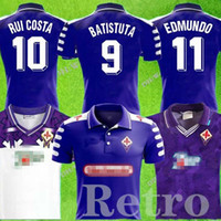 1992 1993 Retro Fiorentina Florenz 98 99 Rui Costa Batistuta Retro Langarm Fußball Jersey Football Hemd Camiseta Futbol Maillot de Foo