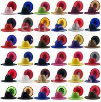40 색 남성 여성 파나마 모자 재즈 형식 모자 레이디 Fedora 패치 워크 와이드 브림 모자 Trilby Chapeau 가을 겨울 디자이너 모자
