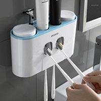 Accesorios de baño Soporte de cepillo de dientes Pasta de dientes Dispensador Squeeer Set 4 taza de soporte para cepillos de dientes Pasta de dientes Cuarto de dientes Set1