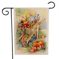 Decoraciones de Acción de Gracias Bandera de jardín Girasoles Calabazas Fruit Cat Pattern Dos lados Impresión Banners Halloween Banderas Venta caliente 6 8sx F2