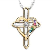 Cross coração em forma de pingentes colar jóias colorido imitação gem liga banhado a ouro colares cadeia mulheres senhora moda acessórios 4hja m2