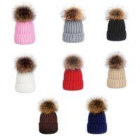 8 Farben Winterwolle Gestrickte Mützen Schwarz Weiß Grau Rosa Outdoor Warme Strickmütze Mütze Mode Street Hat