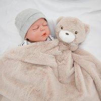 Kavkas Babydecke 76 * 76cm Korallenfleece Winter Braunbär Neugeborenen Infantile Swaddle Decke Flokati W1218