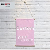 Wholesale Ваше изображение Избранное фото семейное детское атласная живопись плакат и пользовательские печатные стены искусства с твердой древесиной свисает
