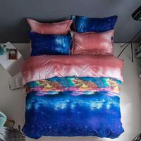 Starry Sky and Star Impreso Ployester Duvet Funda conjuntos Funda de almohada 3 PCS Conjuntos de ropa de cama Edredón Textil de Hogar 2020 Venta caliente