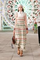 Vestidos de la pista de Milán 2021 NUEVO SPAGHETTI STRUP PRINT Vestido de diseñador de mujeres Marca Vestido del mismo estilo 1218-19