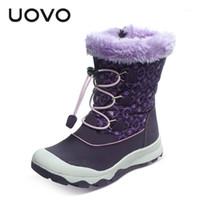 부츠 4-14 Uovo 브랜드 2021 겨울 신발 소녀 어린이 눈 큰 아이 공주 신발 따뜻한 봉제 패션 중간 튜브 부츠 1