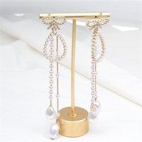 Bowknot Pearl Earl Jewelry Accessorie Rhinestone Aleación Agua Gota Geometría Pendientes Colgante Mujer Vintage Cuelga Pendiente Fashion 5 9SX M2