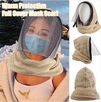 Reißverschluss Muschelhut Stricken Gesichtsmaske mit Schal Winter warm transparent Lippensprache gestrickt winddicht 3 in 1 Hut Set ljjp796