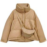 Fitaylor Kış Kadın Ceket Beyaz Ördek Aşağı Parkas Kısa Haki Kirpi Ceket Sıcak Palto LJ201127