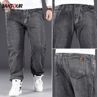 Jantour 2021 Classic Style Men Brand Jeans Business Casual Loose Denim Wide Leg Pants Gray Trousers Male Oversized Size 40 42 44