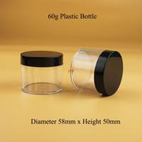 40pcs / lot en gros plastique 60g crème crème PS 2Oz Emballage avec couvercle noir 60ml Conteneur cosmétique Cosmétique DIY Maquillage Outils Bottlebood QUALITY