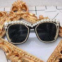 Кристалл Pearl солнцезащитные очки Женщины в стиле барокко ретро Урожай Cateye ВС очки Оттенки Ladies óculos De feminino очки