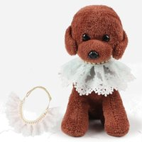 Dog Lace Necklace Rhinestone Puppy Collar Pet Products Dog Supplies Pet Charm Pearly lace pet scarf Accessory DDA2635