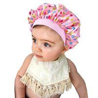 Kids Floral Fruit Print Satin Bonnet Girl Boy Night Sleep Cap Hair Care Soft Head Cover Wrap Beanies Skull 9 Colors