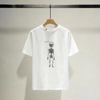 algodão Casual camisa 20FW Primavera Verão Europa América Moda Crânio Esqueleto de Ouro Letters t Mulheres da rua camisetas