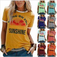 Kadınlar Yaz Tshirt Tasarımcı Getirin Güneş Işığı Baskı Mektubu T Shirt Kısa Kollu Tops Mürettebat Boyun Gömlek Bayan Bluz Tees Giyim
