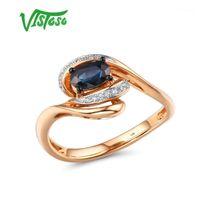 Кластерные кольца Vistoso Pure 14K 585 Розовое Золотое кольцо для женщин Сияющий бриллиант синий сапфир Свадебное обручение Элегантные украшения1