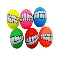 مضحك الحيوانات الأليفة الكلب جرو القط الكرة الأسنان لعبة pvc مضغ الصوت الكلاب تلعب جلب صرير اللعب مستلزمات الحيوانات الأليفة جرو الكرة الأسنان السيليكون لعبة