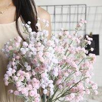5 adet Bebeğin Nefesi Yapay Çiçek Ev Dekorasyon Için Doğum Günü Hediyesi Düğün Buketi Gerçek Dokunmatik Plastik Sahte Çiçek Gypsophila