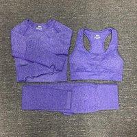 여자 코튼 요가 정장 체육관 sportwear tracksuits 휘트니스 스포츠 3 조각 세트 3 바지 브래지어 셔츠 레깅스 복장 012