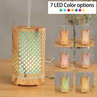 200 ml humidificador de aire ultrasónico Hollow-out Máquina de aromaterapia USB Grano de grano Aroma Difusor de aceite esencial con 7 colores LED luz GGA3835