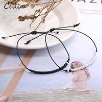 Bianco 2 pz / Set Brancia per perline di semi di vetro bohémien Braccialetto nero Corda a cera nera fatta a mano intrecciata perlina Amicizia Braccialetti per le donne Uomo Gioielli Coppia Regalo