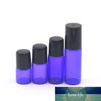Frete grátis 100pcs Roxo-azul 1 ml 2 ml 3ml 5ml Perfume Amostra vazio rolo Garrafa de vidro Essential Oil Roll-On Bottle