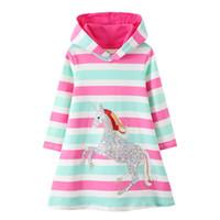 قفز متر جديد وصول يونيكورن الأميرة مقنع اللباس ل الخريف الشتاء شريط أزياء الأطفال الملابس القطن الطفل 201202