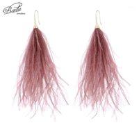 Dangle 샹들리에 바다 긴 귀걸이 여성을위한 타조 깃털 가벼운 무게 빈티지 비치 쥬얼리 2021 봄 패션 선물 드롭 1