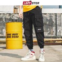 Lapster homens preto bordado bordados calças 2021 homem streetwear calças de carga macho bolso de moletom cinzento tático plus tamanho
