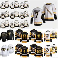 2021 Reverse Retro Pittsburgh Penguins Jerseys Ruhwedel Chad Rust Bryan Sceviour Colton Tanev Brandon 주커 제이슨 맞춤형 스티치