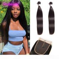 Virgin Raw Индийские 2 волос Пучков С 5X5 шнурком Закрытие 8-30inch естественного цвет Straight Связка человеческих волос с 5 * 5 Lace Размером Дешевого Утком волоса